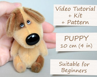 """Step by Step Video Tutorial with Sewing Kit. Teddy Toy """"Miniature Puppy"""" by ABCbears (10 cm / 4 in)"""