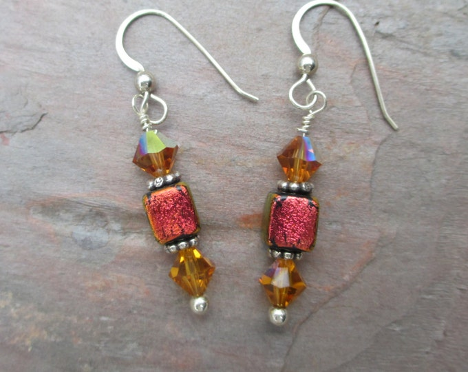 handmade orange dichroic cube earring with yellow Swarovski crystal on sterling silver ear wire