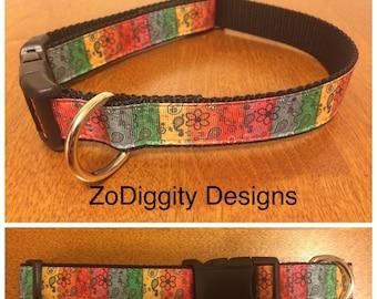 "1""  Multicolored Argyle Dog Collar"