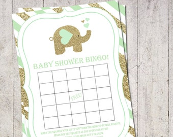 Mint and Gold Baby Shower Bingo Boy Elephant Baby Bingo Elephant Baby Games Gold Glitter Printable Instant Download Bingo Cards Gold BS-183