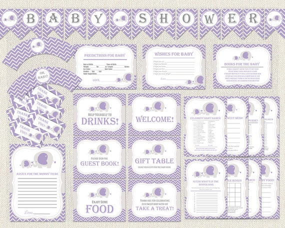 baby shower package purple elephant theme party pack decoration