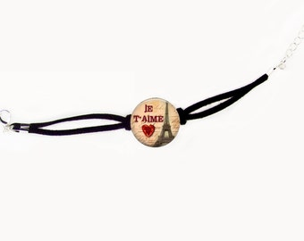 I Love Paris Photo Glass Faux Suede / Link Chain Bracelet