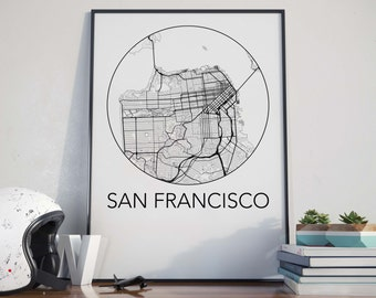San Francisco, California Minimalist City Map Print
