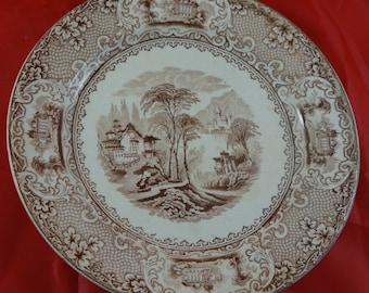 "Brown Transferware Plate ""Lucerne"" pattern Made by Davis Hanley"