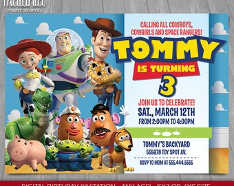 Toy Story Invitation - Toy Story Invite - Disney Pixar Toy Story Birthday Invitation - Toy Story Birthday Party - Woody Buzz