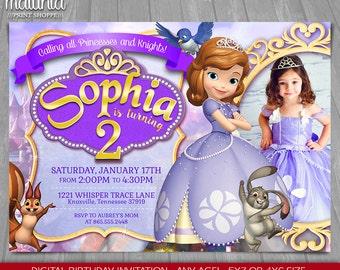Sofia the First Invitation - Princess Sofia Invite - Sofia the First Birthday Invitation - Sofia Birthday Party with photo