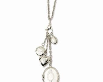 Silver-tone Mulit Locket Charm 24 Necklace