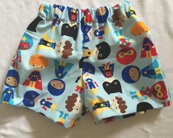 "Handmade Baby Boy Shorts in ""Superhero"" Print"" in 100% cotton. Sizes 00-2"