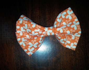 Orange and White butterfly print bow