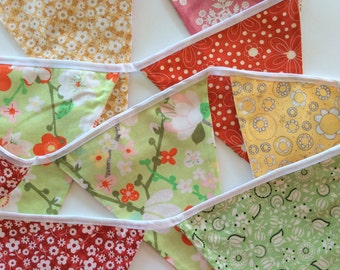 Red, pink, yellow and green bunting