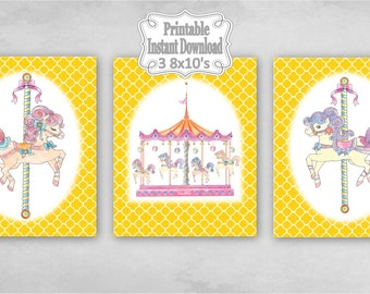 Printable Carousel Horses Merry Go Round Baby Nursery Wall Art Decor Gold Clover Baby Girl Child Kids ~ DIY Instant Download ~ 3 8x10 Prints