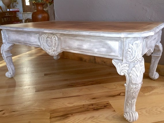 Ornate Carved Vintage Wood Coffee Table Hand Painted French Country
