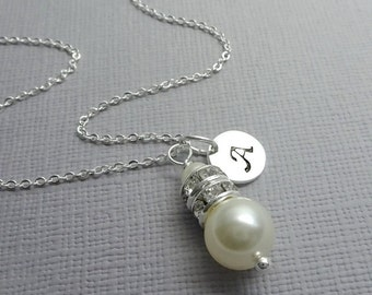 Personalized Bridesmaid Necklace, Swarovski Ivory Cream Pearl Bridesmaid Gift, Maid of Honor Gift, Bridal Party Necklace