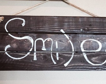 """Custom painted Wood Pallet with Quote, """"Smile"""""""