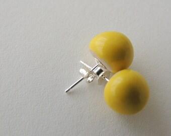 earring, yellow earrings, ceramic earrings, silver 925 earring