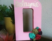 Name Sign - Floral Initial Sign - Personalized Canvas - Girls Name - Hand Lettered Wall Hanging - Gift for Girls