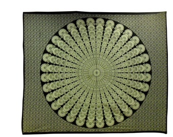 "Indian Hand Block Printed Mandala Design Cotton Double Bed sheet size 90x108"""