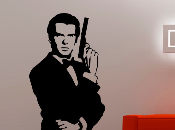 james bond wall sticker movie decal home wall decor interior. Black Bedroom Furniture Sets. Home Design Ideas