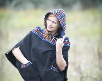 poncho stripes and black