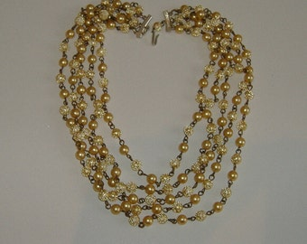 1950s YELLOW BEAD NECKLACE