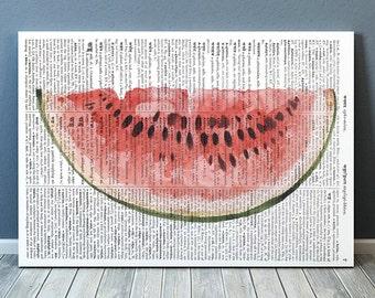 Kitchen art Watermelon poster Fruit print Dictionary print RTA2133