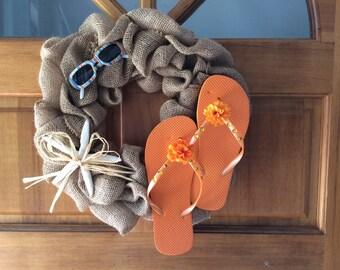Burlap Flip Flop Wreath with Starfish and Sunglasses Accents-Beach Decor-Lake Decor-Tropical Decor-Flip Flop Decor-Island Decor-Coastal
