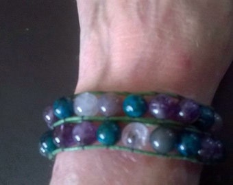 WB12 double wraparound gemstone bracelet