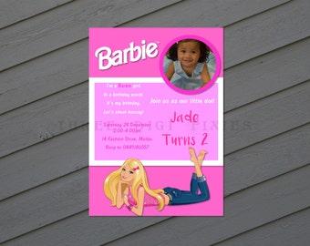 Barbie Invitation  / Barbie Birthday Invitation / Barbie Pink and Purple  Birthday Party Invitation - Printable