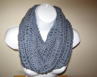 Crocheted Cozy Country Blue Cowl Infinity Scarf