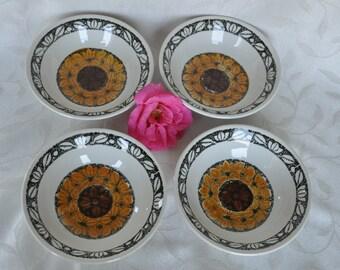 Set of 4 Handpainted Tashkent bowls Kathie Winkle Broadhurst Ironstone