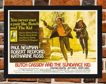 Framed Butch Cassidy And The Sundance Kid Paul Newman & Robert Redford Movie / Film Poster A3 Size Mounted In Black Or White Frame.