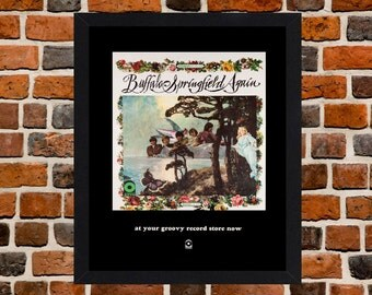 Framed Buffalo Springfield Again At Your Groovy Record Store Album Advertising Poster A3 Size Mounted In Black Or White Frame