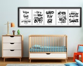 BUNDLE - Dr. Seuss digital print kids' bedroom wall hanging home decor Nursery decor print at home children baby Black and white