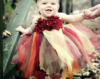 Fall Tutu Dress - Red Crimson - Newborn Infant Toddler - Flower Girl Birthday Dress Halloween