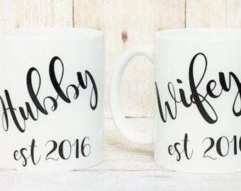 Hubby&Wifey Coffee Mugs- Couple Mugs-Wedding Gift=Hubby Mug-Wifey Mug-Wedding Mugs-Couple Gifts-Anniversary Gift-Unique Couple Gift