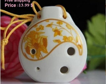 1pc Chinese Six holes Porcelain flute High pitch C tune Ocarina Music Instrument for Beginners