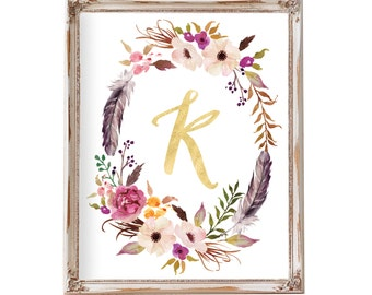 Floral Monogram, Nursery Wall Art, Monogram, Baby Gift, Nursery Letters, Floral Wreath Letter,  Kids Wall Art, Printable Art, gold foil