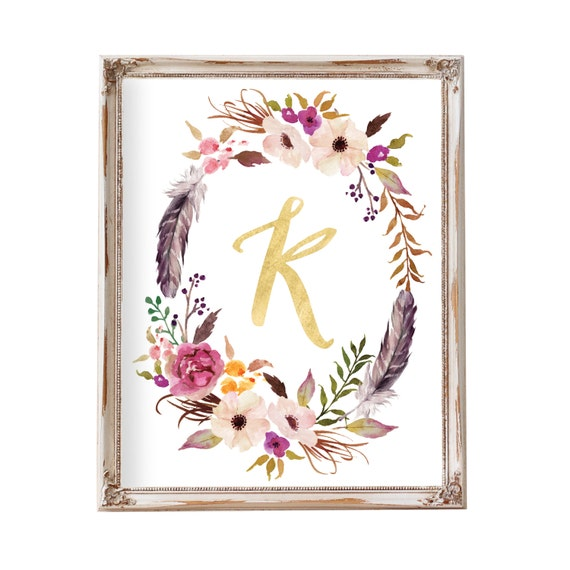Personalized Baby Gift, Nursery Wall Art, Kids Wall Art, Floral Wreath Letter, Nursery Decor, Tribal, Monogram, Pink, Gray, Gold, Floral