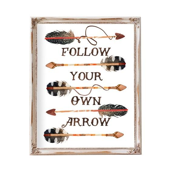 Tribal Nursery, Boy Nursery Art, Follow Your Own Arrow, Woodland Nursery, Arrow Art, Boys Room Wall Art, Nursery Decor Boy, Feather Arrow