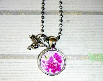 Orchids and Hummingbird necklace