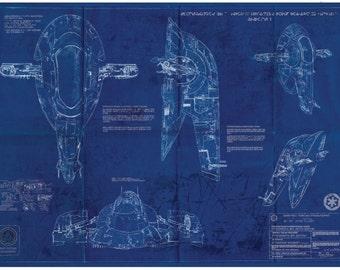 Slave 1 Boba Fett Star Wars Poster Blueprint (A2 = 420mm*594 or 16.5' * 23.4')