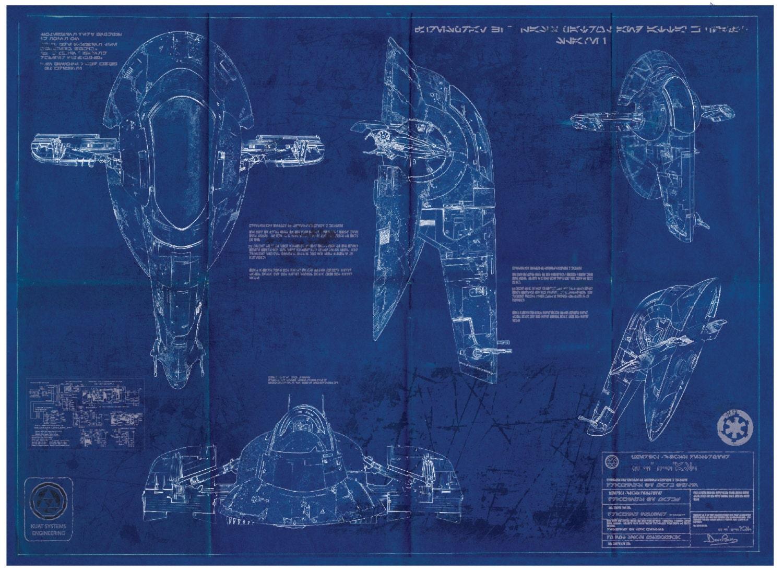 slave 1 boba fett star wars poster blueprint a2 420mm594. Black Bedroom Furniture Sets. Home Design Ideas