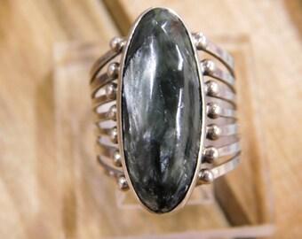 Beautiful Seraphanite Sterling Silver Ring