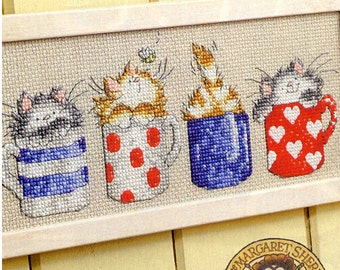 Cross stitch kits 14ct Cartoon cups and cats