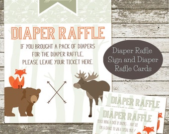 Woodland Baby Shower Diaper Raffle Sign Insert Cards
