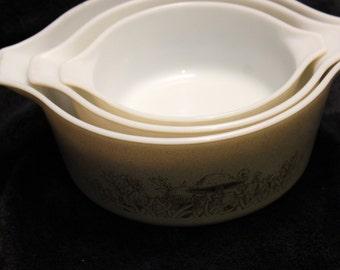 Pyrex Forest Fancy Casserole Nesting Bowls, Set of 3, no lids