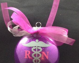 Personalized Nurse - RN Glitter Christmas Ornament