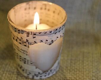 Sheet Music Votive Candle Holder