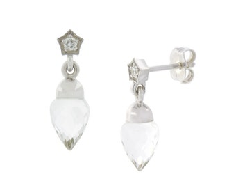 Odette earrings.  Diamonds and clear quartz briolettes in sterling silver.