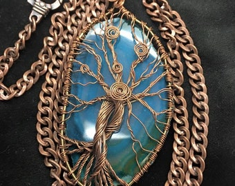 Double wire wrapped tree on a blue slate agate.!